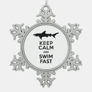 Funny Shark Warning - Keep Calm and Swim Fast Snowflake Pewter Christmas Ornament