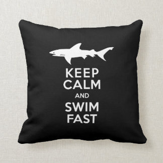 Funny Shark Warning - Keep Calm and Swim Fast Throw Pillow