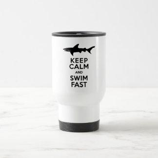 Funny Shark Warning - Keep Calm and Swim Fast Travel Mug