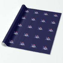 Funny Shark Wearing Santa Hat Christmas Wrap Wrapping Paper