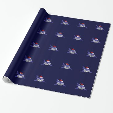 Christmas Themed Funny Shark Wearing Santa Hat Christmas Wrap Wrapping Paper