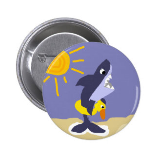 Funny Shark with Duck Inflatable Life Preserver Pin