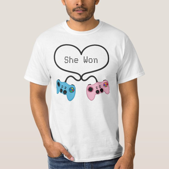 Funny She Won - Pink and Blue Gaming Controllers T-Shirt