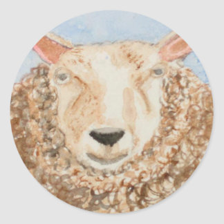 Funny Sheep animal watercolor aceo art printed on Classic Round Sticker