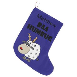 Funny Sheep Bah Humbug Christmas Pun Cartoon Large Christmas Stocking