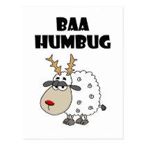 Funny Sheep Bah Humbug Christmas Pun Cartoon Postcard
