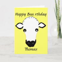 Funny Sheep Birthday, baa rthday, add name front Card
