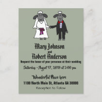 Funny Sheep Bride and Groom Wedding Invitation