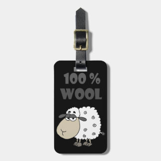 Funny Sheep Cartoon is 100 Percent Wool Luggage Tag