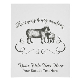 Funny Sheep Farm French Expression Vintage Style Poster