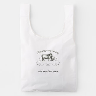 Funny Sheep Farm French Expression Vintage Style Reusable Bag