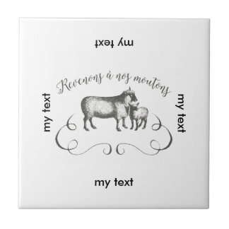 Funny Sheep Farm French Expression Vintage Style Tile