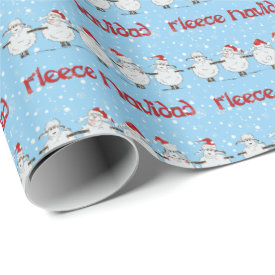 Funny Sheep Fleece Navidad Horizontal Gift Wrap