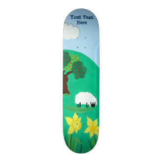 funny sheep grazing blue sky scenic illustration skateboard deck