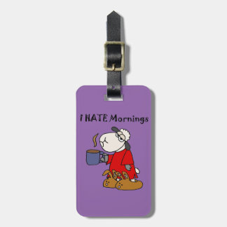 Funny Sheep Hates Mornings Cartoon Bag Tag