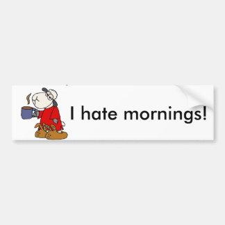 Funny Sheep Hates Mornings Cartoon Bumper Sticker