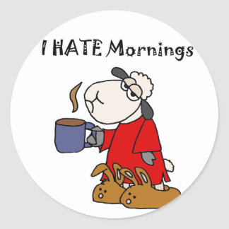 Funny Sheep Hates Mornings Cartoon Classic Round Sticker
