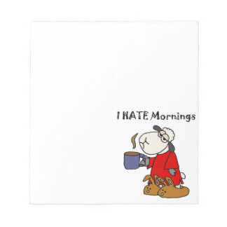 Funny Sheep Hates Mornings Cartoon Notepad