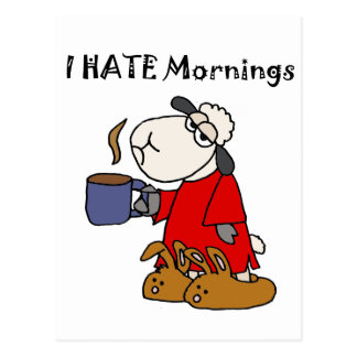 Funny Sheep Hates Mornings Cartoon Postcard