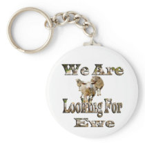 Funny Sheep Looking For Ewe, Keychain