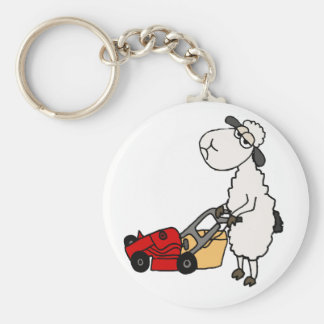Funny Sheep Mowing Grass Cartoon Keychain