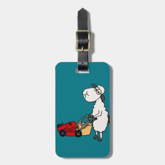 Funny Sheep Mowing Grass Cartoon Luggage Tag
