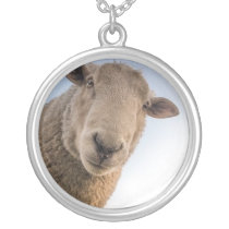 Funny sheep selfie silver plated necklace