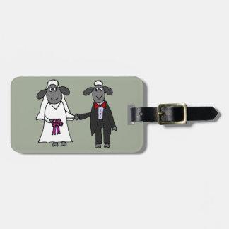 Funny Sheep Wedding Cartoon Bag Tag