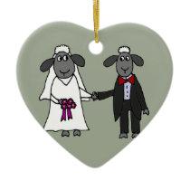 Funny Sheep Wedding Cartoon Ceramic Ornament