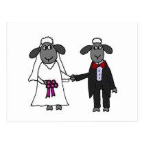 Funny Sheep Wedding Cartoon Postcard