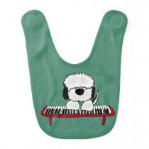 Funny Sheepdog Playing Keyboard Bib