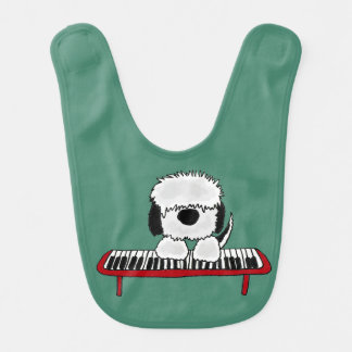 Funny Sheepdog Playing Keyboard Bib