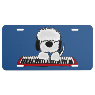 Funny Sheepdog Playing Keyboard License Plate