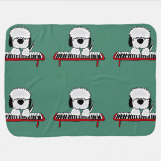 Funny Sheepdog Playing Keyboard Swaddle Blanket