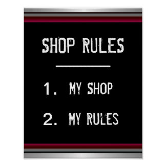 Funny Shop Rules Poster