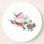 funny shopping santa cartoon beverage coasters