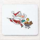 funny shopping santa cartoon mousepads