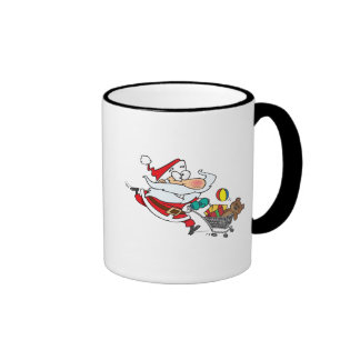 funny shopping santa cartoon coffee mug