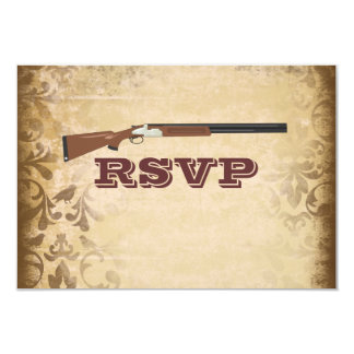 Funny Shotgun Wedding Brown Damask RSVP Cards