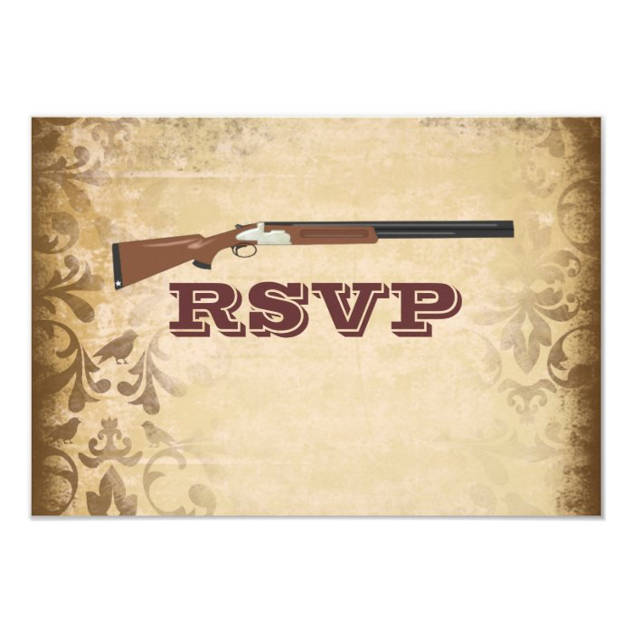 Funny Shotgun Wedding Brown Damask RSVP Cards