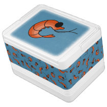 Funny Shrimp Seafood Blue igloo can cooler