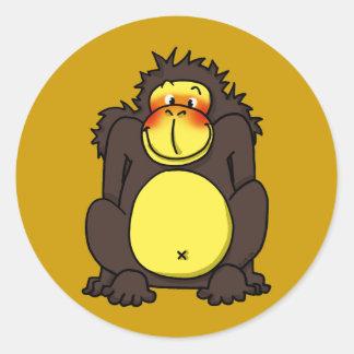 Funny shy gorilla classic round sticker