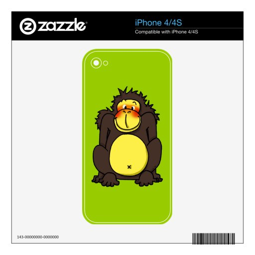 Funny shy gorilla iPhone 4S decals
