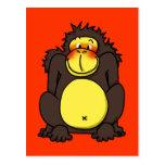 Funny shy gorilla post card