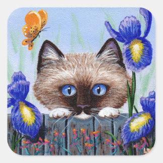 Funny Siamese Cat Iris Creationarts Square Sticker