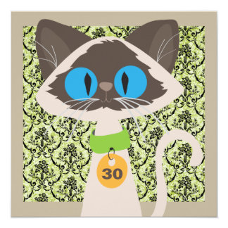 Funny Siamese Cat Script 30th Birthday Party Card