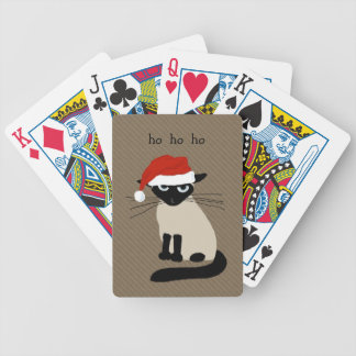Funny Siamese Santa Cat with Custom Text Bicycle Playing Cards