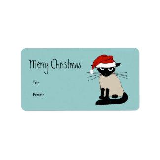 Funny Siamese Santa Claws Christmas Label