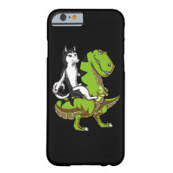 Funny Siberian Husky Dog Riding T-Rex Dinosaur Barely There iPhone 6 Case