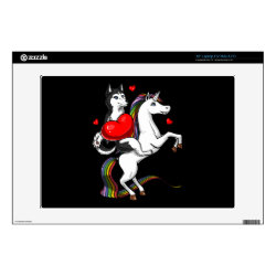 "Funny Siberian Husky Dog Riding Unicorn 13"" Laptop Decal"